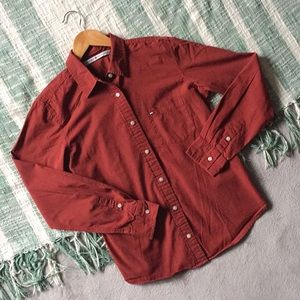 Tommy Hilfiger '01 Button Up Logo Shirt Rust Red 8